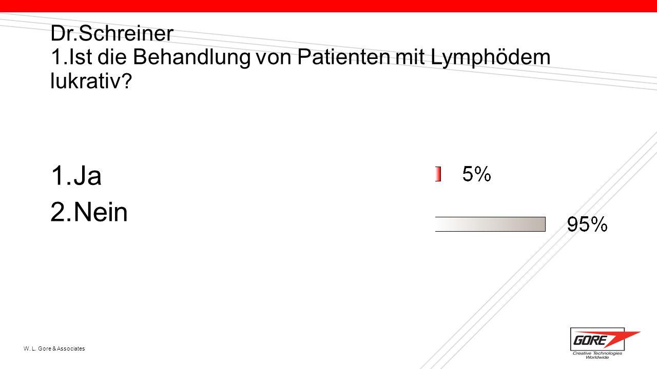 W. L. Gore & Associates Dr.Schreiner 1.Ist die Behandlung von Patienten mit Lymphödem lukrativ ? 1.Ja 2.Nein