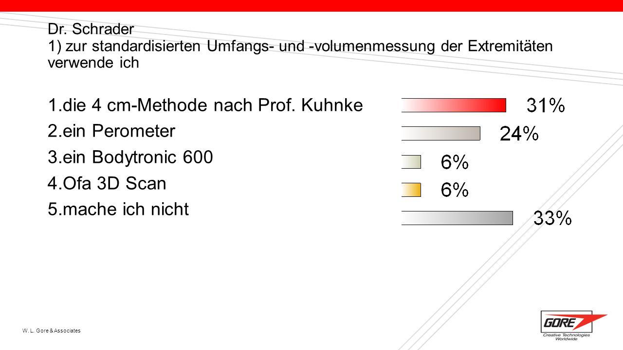 W. L. Gore & Associates Dr. Schrader 1) zur standardisierten Umfangs- und -volumenmessung der Extremitäten verwende ich 1.die 4 cm-Methode nach Prof.