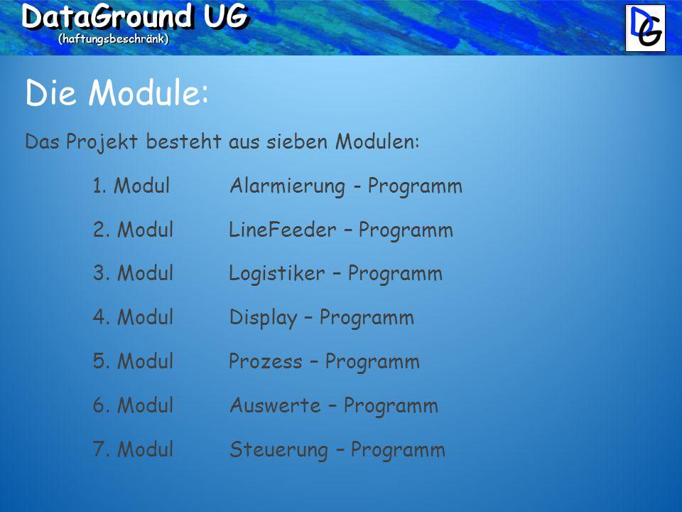 DataGround UG (haftungsbeschränk) Die Module: Das Projekt besteht aus sieben Modulen: 1.
