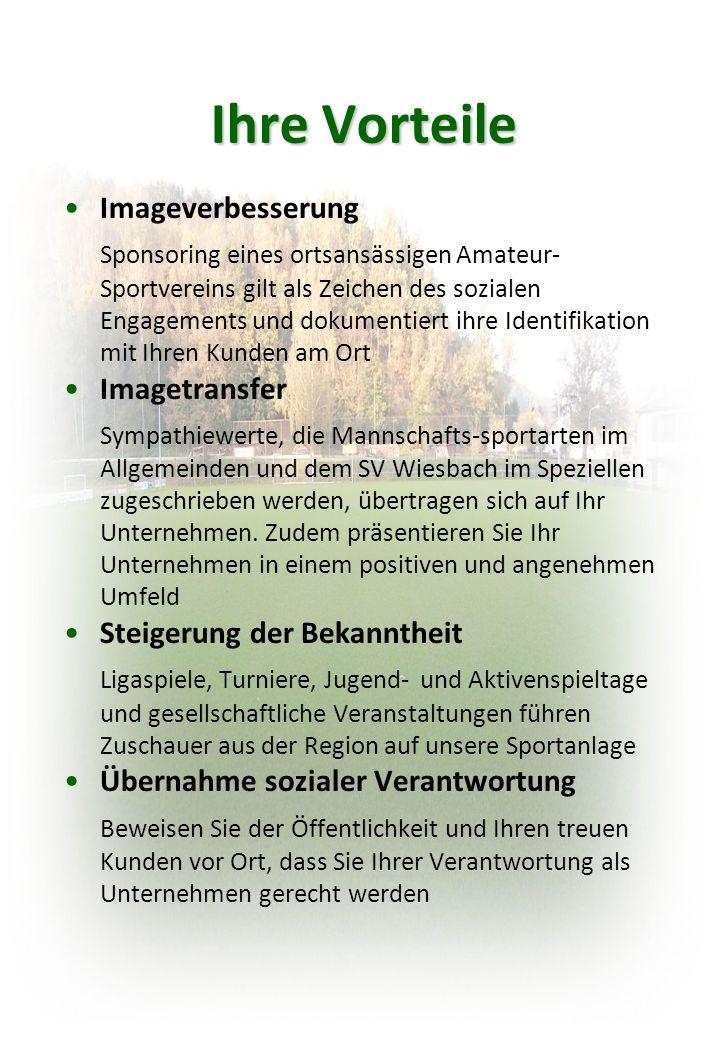Ihre Vorteile Imageverbesserung Sponsoring eines ortsansässigen Amateur- Sportvereins gilt als Zeichen des sozialen Engagements und dokumentiert ihre Identifikation mit Ihren Kunden am Ort Imagetransfer Sympathiewerte, die Mannschafts-sportarten im Allgemeinden und dem SV Wiesbach im Speziellen zugeschrieben werden, übertragen sich auf Ihr Unternehmen.