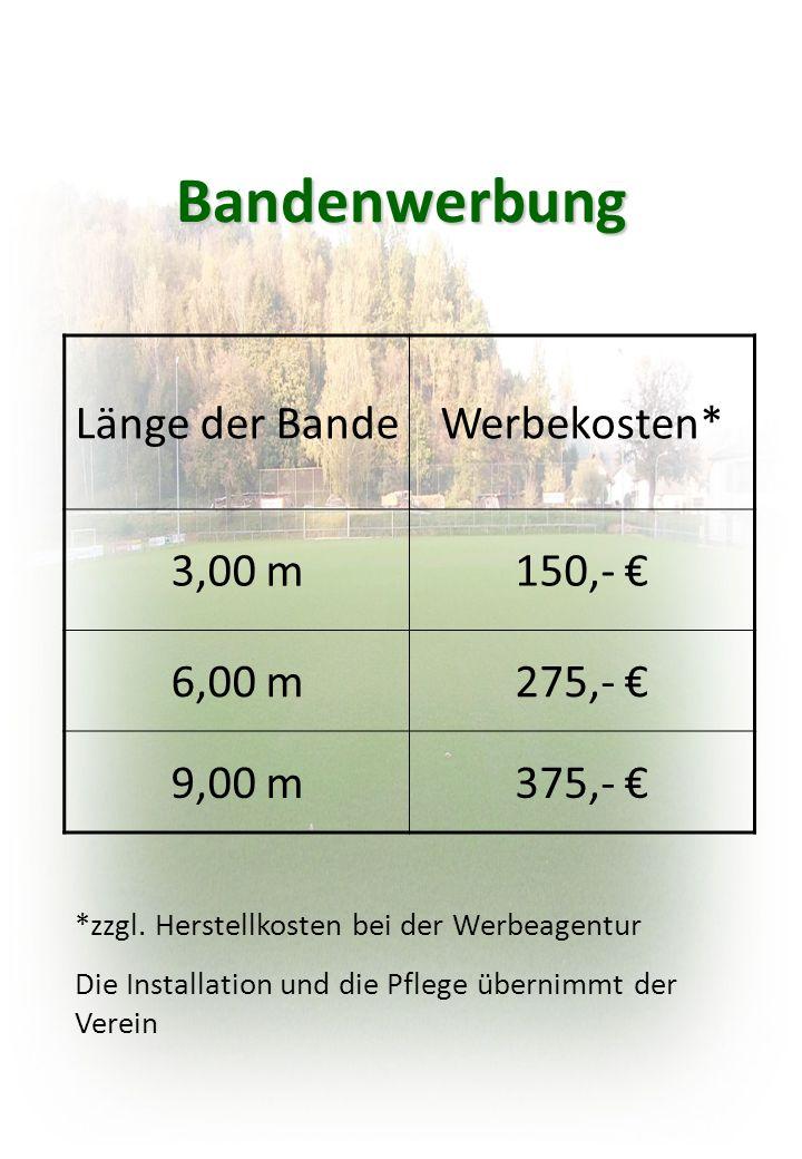 Bandenwerbung Länge der BandeWerbekosten* 3,00 m150,- € 6,00 m275,- € 9,00 m375,- € *zzgl.