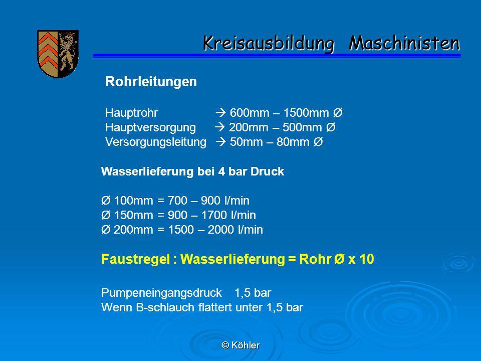 © Köhler Kreisausbildung Maschinisten Kreisausbildung Maschinisten Rohrleitungen Hauptrohr  600mm – 1500mm Ø Hauptversorgung  200mm – 500mm Ø Versorgungsleitung  50mm – 80mm Ø Wasserlieferung bei 4 bar Druck Ø 100mm = 700 – 900 l/min Ø 150mm = 900 – 1700 l/min Ø 200mm = 1500 – 2000 l/min Faustregel : Wasserlieferung = Rohr Ø x 10 Pumpeneingangsdruck 1,5 bar Wenn B-schlauch flattert unter 1,5 bar