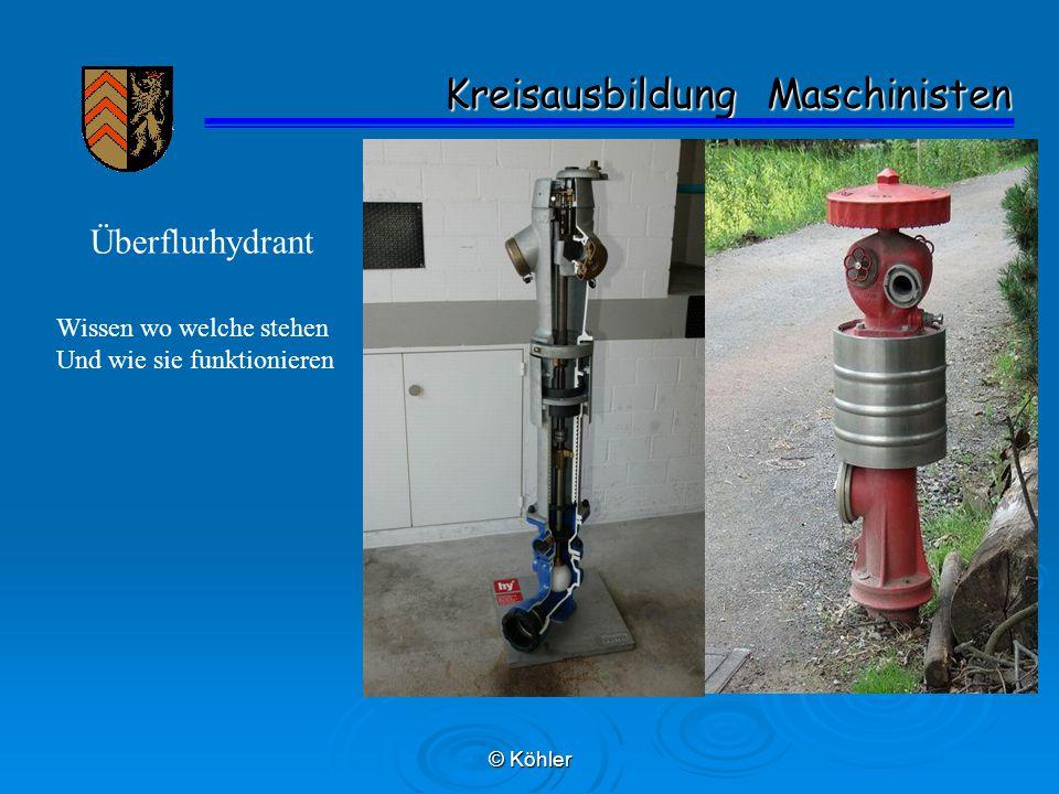© Köhler Kreisausbildung Maschinisten Kreisausbildung Maschinisten Überflurhydrant Wissen wo welche stehen Und wie sie funktionieren