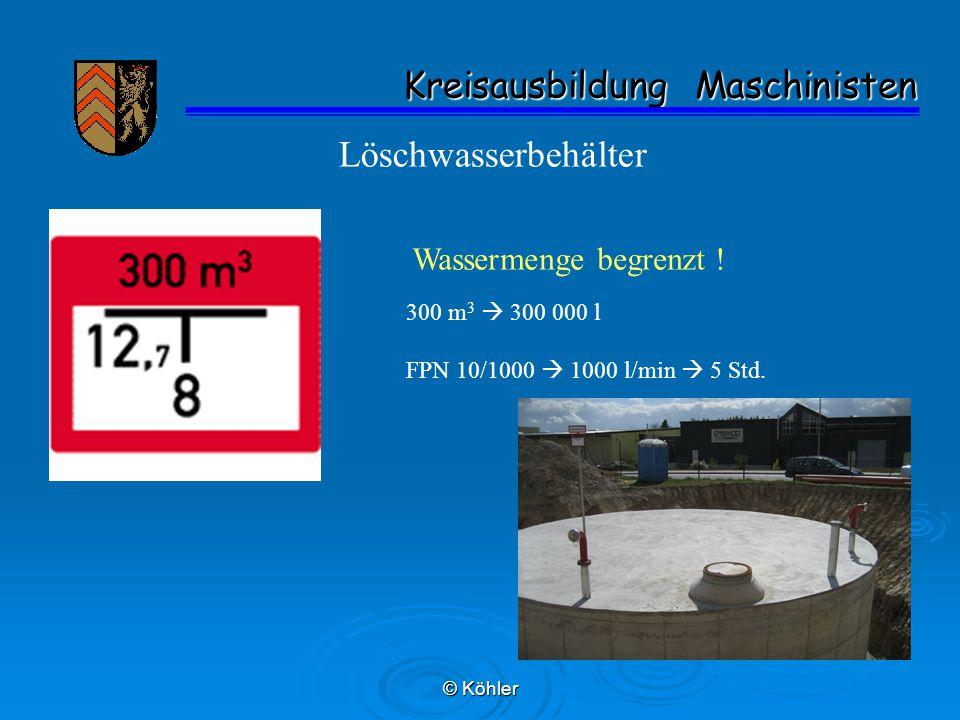 © Köhler Kreisausbildung Maschinisten Kreisausbildung Maschinisten Löschwasserbehälter Wassermenge begrenzt .