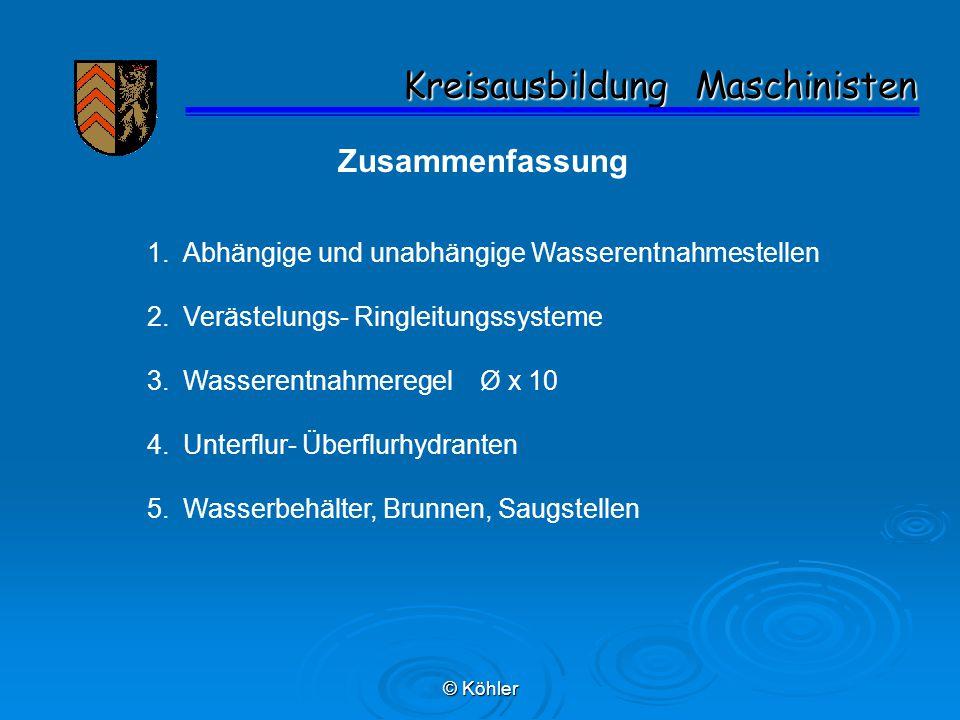 © Köhler Kreisausbildung Maschinisten Kreisausbildung Maschinisten Zusammenfassung 1.Abhängige und unabhängige Wasserentnahmestellen 2.Verästelungs- R