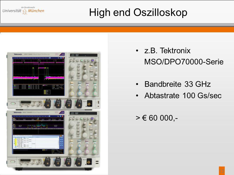 High end Oszilloskop z.B. Tektronix MSO/DPO70000-Serie Bandbreite 33 GHz Abtastrate 100 Gs/sec > € 60 000,- 13