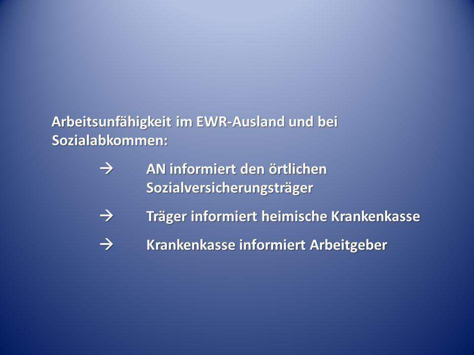 Arbeitsunfähigkeit im EWR-Ausland und bei Sozialabkommen:  AN informiert den örtlichen Sozialversicherungsträger  Träger informiert heimische Kranke