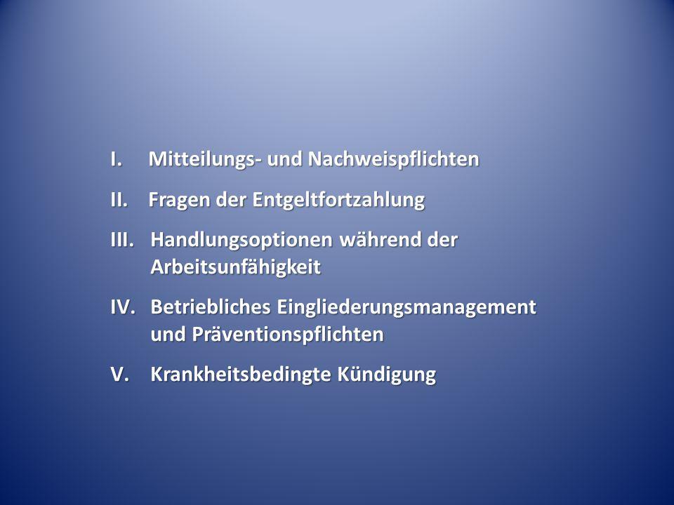 I.Mitteilungs- und Nachweispflichten II.Fragen der Entgeltfortzahlung III.Handlungsoptionen während der Arbeitsunfähigkeit IV.Betriebliches Einglieder