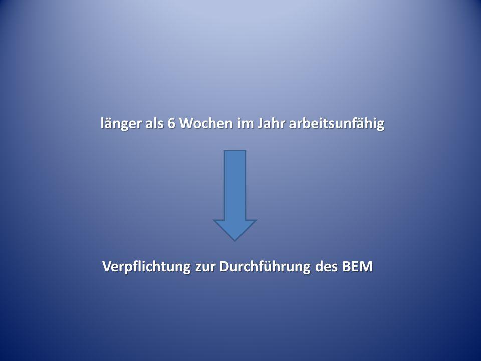länger als 6 Wochen im Jahr arbeitsunfähig Verpflichtung zur Durchführung des BEM Verpflichtung zur Durchführung des BEM