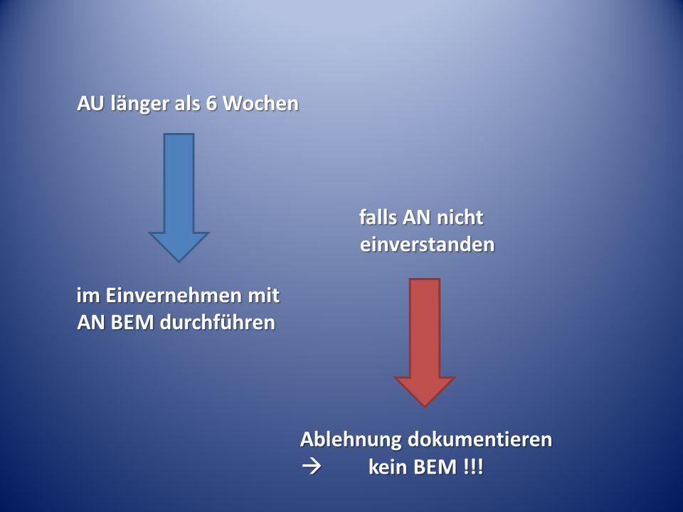 AU länger als 6 Wochen im Einvernehmen mit AN BEM durchführen falls AN nicht einverstanden Ablehnung dokumentieren  kein BEM !!!