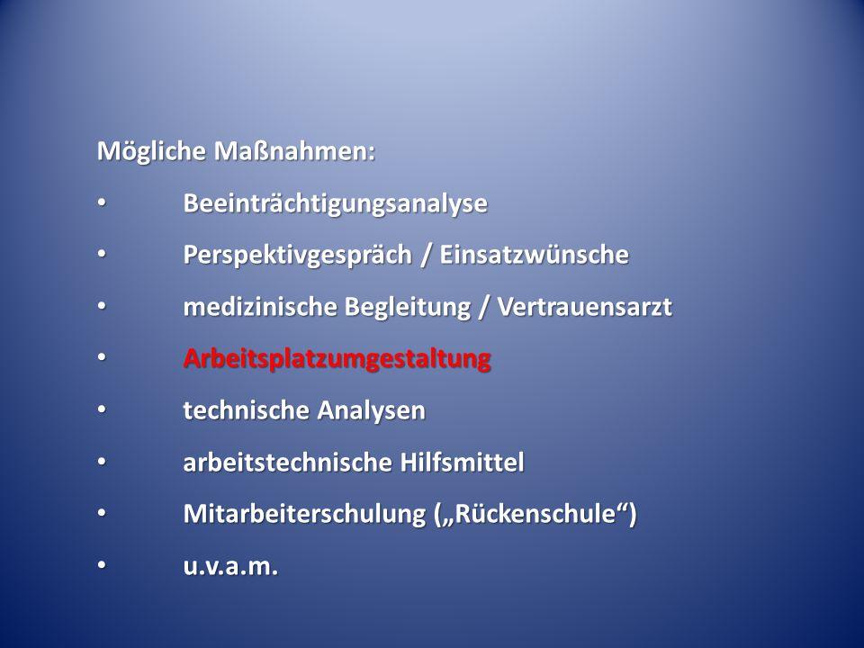 Mögliche Maßnahmen: Beeinträchtigungsanalyse Beeinträchtigungsanalyse Perspektivgespräch / Einsatzwünsche Perspektivgespräch / Einsatzwünsche medizini