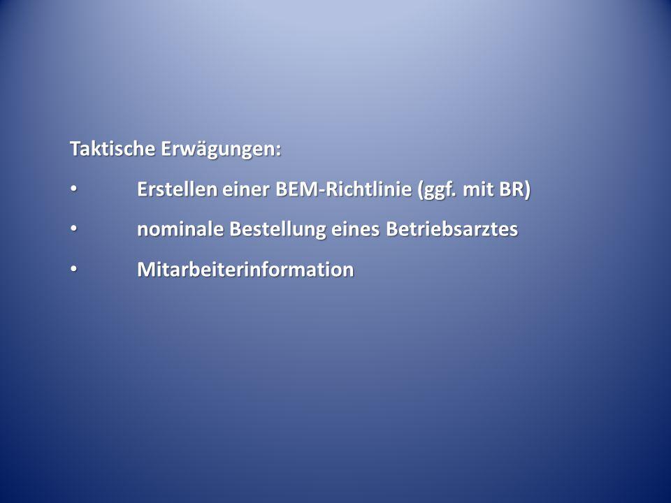Taktische Erwägungen: Erstellen einer BEM-Richtlinie (ggf. mit BR) Erstellen einer BEM-Richtlinie (ggf. mit BR) nominale Bestellung eines Betriebsarzt