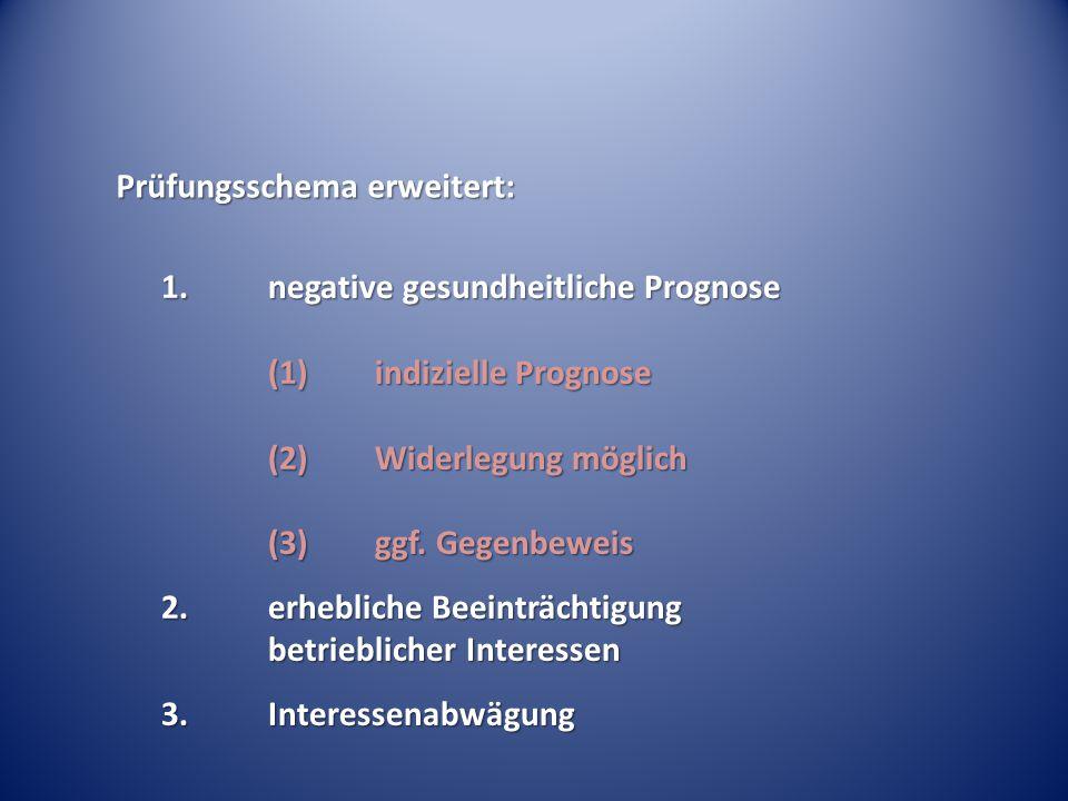 Prüfungsschema erweitert: 1.negative gesundheitliche Prognose (1) indizielle Prognose (2) Widerlegung möglich (3) ggf. Gegenbeweis 2.erhebliche Beeint