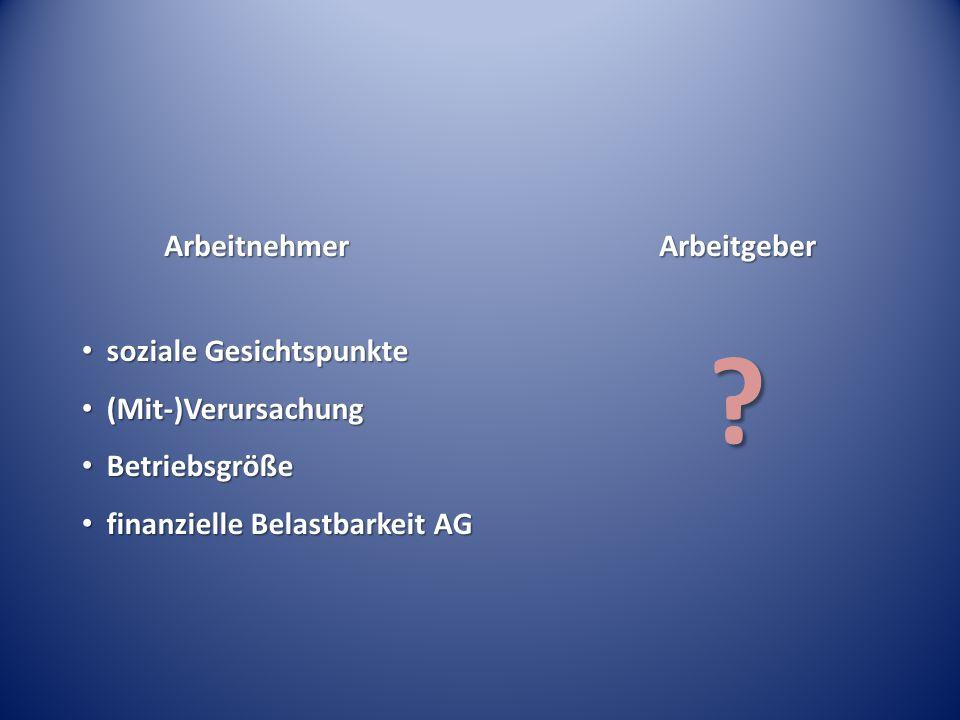 ArbeitnehmerArbeitgeber soziale Gesichtspunkte soziale Gesichtspunkte (Mit-)Verursachung (Mit-)Verursachung Betriebsgröße Betriebsgröße finanzielle Be