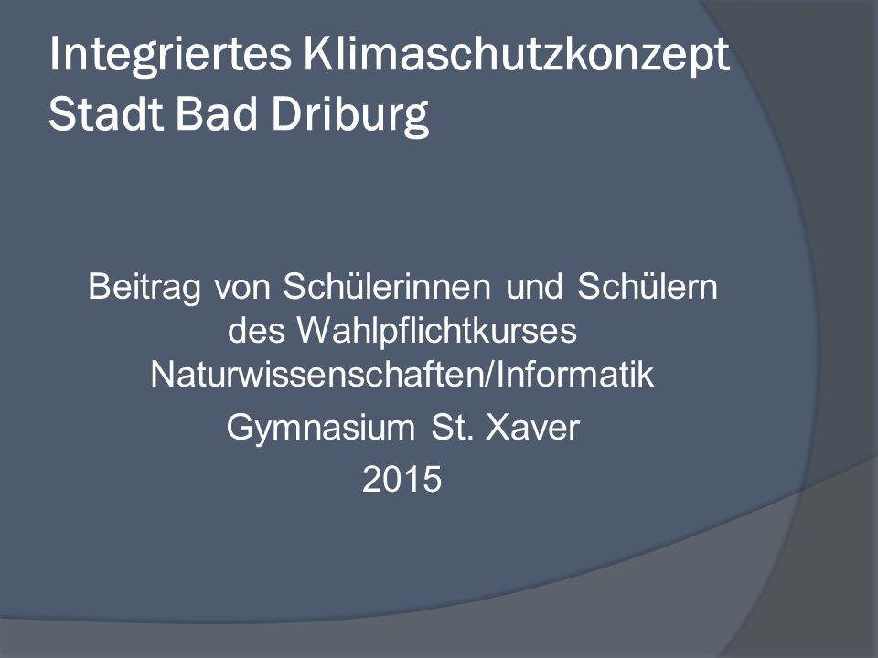 Integriertes Klimaschutzkonzept Stadt Bad Driburg Beitrag von Schülerinnen und Schülern des Wahlpflichtkurses Naturwissenschaften/Informatik Gymnasium St.