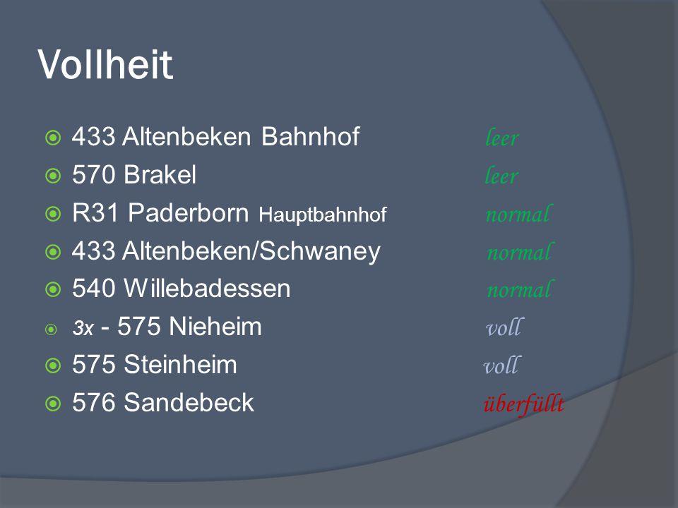 Vollheit  433 Altenbeken Bahnhof leer  570 Brakel leer  R31 Paderborn Hauptbahnhof normal  433 Altenbeken/Schwaney normal  540 Willebadessen normal  3x - 575 Nieheim voll  575 Steinheim voll  576 Sandebeck überfüllt