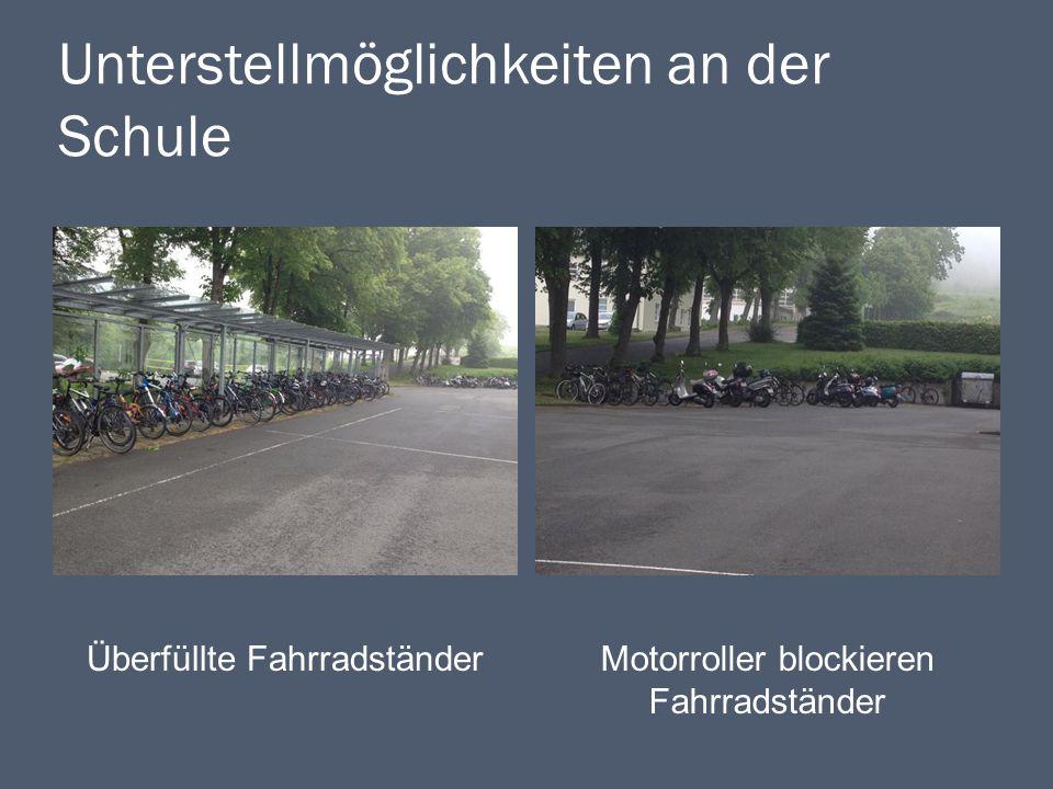 Unterstellmöglichkeiten an der Schule Überfüllte FahrradständerMotorroller blockieren Fahrradständer