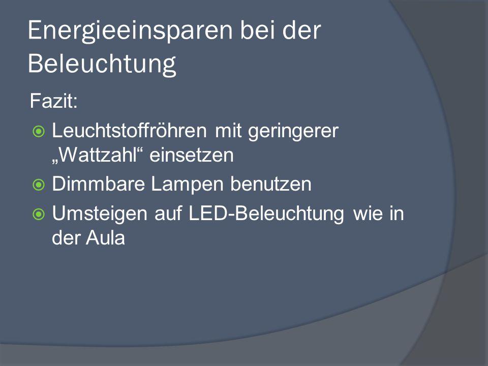 """Energieeinsparen bei der Beleuchtung Fazit:  Leuchtstoffröhren mit geringerer """"Wattzahl einsetzen  Dimmbare Lampen benutzen  Umsteigen auf LED-Beleuchtung wie in der Aula"""