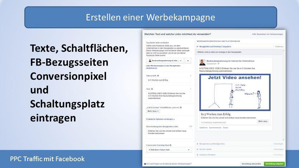 Erstellen einer Werbekampagne PPC Traffic mit Facebook Texte, Schaltflächen, FB-Bezugsseiten Conversionpixel und Schaltungsplatz eintragen