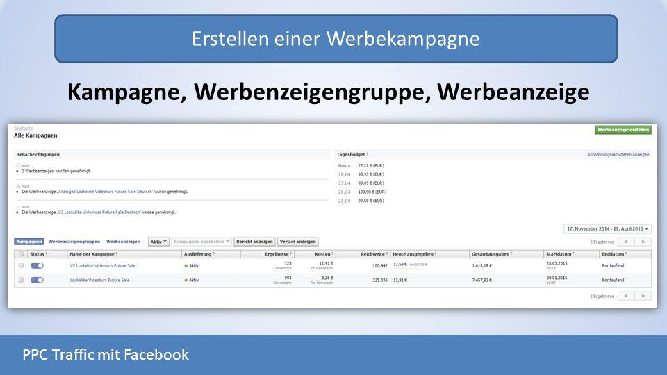 Erstellen einer Werbekampagne PPC Traffic mit Facebook Kampagne, Werbenzeigengruppe, Werbeanzeige