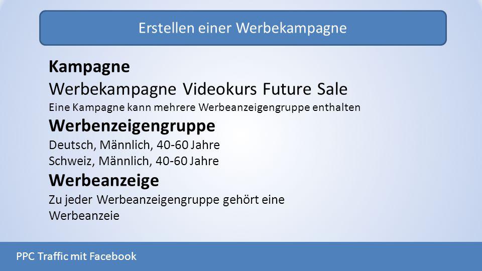Erstellen einer Werbekampagne PPC Traffic mit Facebook Kampagne Werbekampagne Videokurs Future Sale Eine Kampagne kann mehrere Werbeanzeigengruppe ent