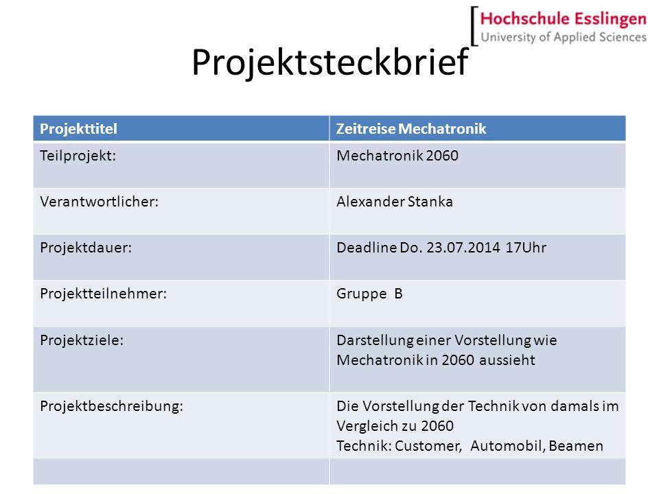 Projektsteckbrief ProjekttitelZeitreise Mechatronik Teilprojekt:Mechatronik 2060 Verantwortlicher:Alexander Stanka Projektdauer:Deadline Do. 23.07.201