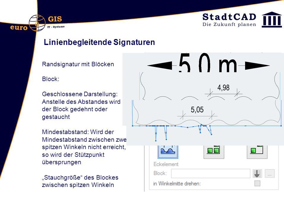 Linienbegleitende Signaturen Randsignatur mit Blöcken Block: Geschlossene Darstellung: Anstelle des Abstandes wird der Block gedehnt oder gestaucht Mi