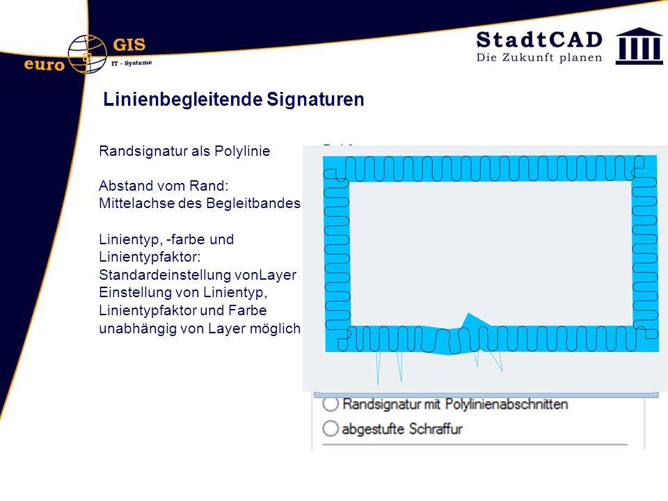 Linienbegleitende Signaturen Randsignatur als Polylinie Abstand vom Rand: Mittelachse des Begleitbandes Linientyp, -farbe und Linientypfaktor: Standar