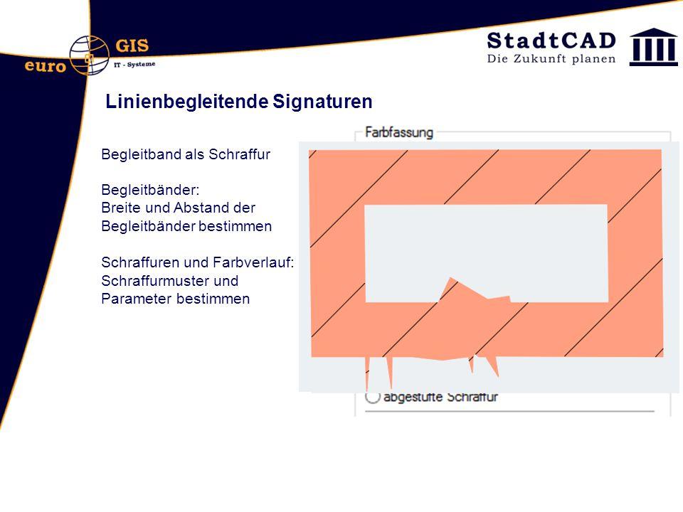 Linienbegleitende Signaturen Begleitband als Schraffur Begleitbänder: Breite und Abstand der Begleitbänder bestimmen Schraffuren und Farbverlauf: Schr