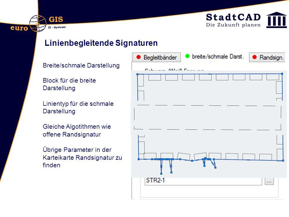 Linienbegleitende Signaturen Breite/schmale Darstellung Block für die breite Darstellung Linientyp für die schmale Darstellung Gleiche Algotithmen wie