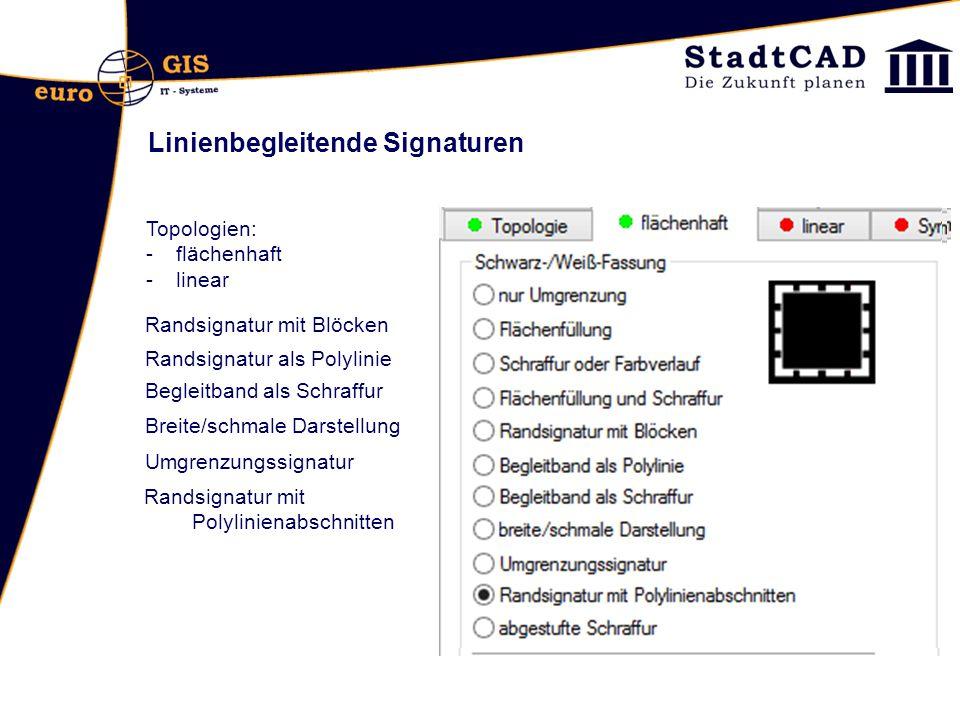 Topologien: -flächenhaft -linear Randsignatur mit Blöcken Randsignatur als Polylinie Begleitband als Schraffur Breite/schmale Darstellung Umgrenzungss