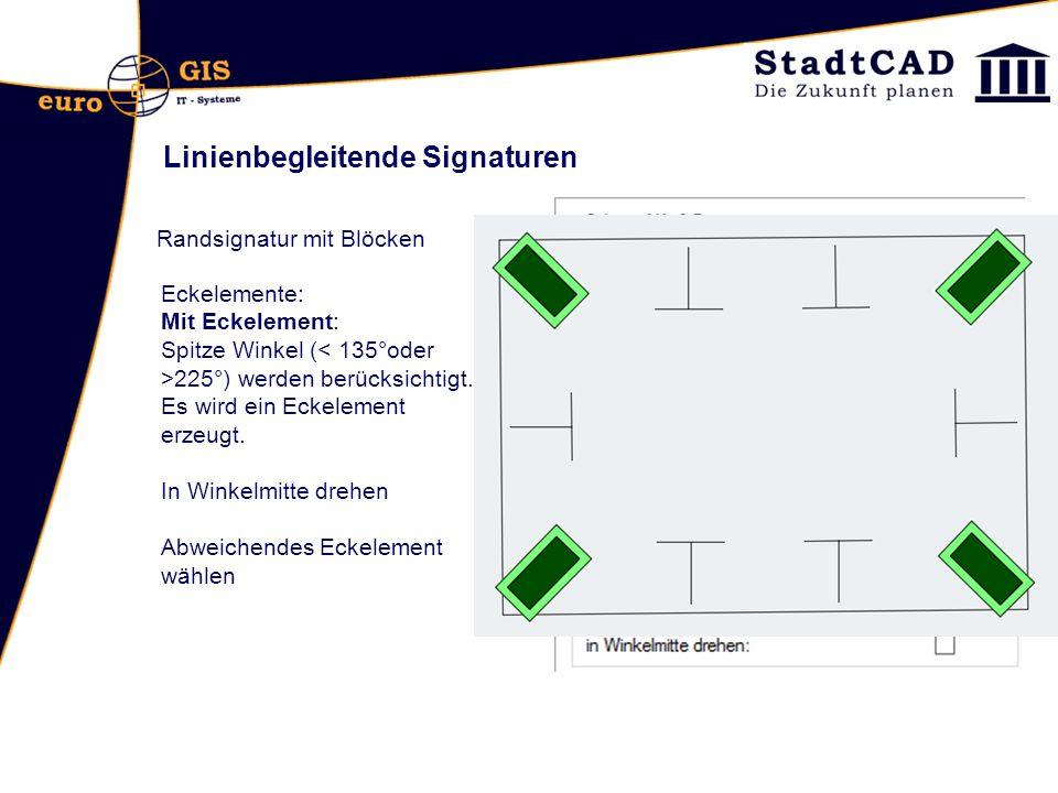 Linienbegleitende Signaturen Randsignatur mit Blöcken Eckelemente: Mit Eckelement: Spitze Winkel ( 225°) werden berücksichtigt. Es wird ein Eckelement