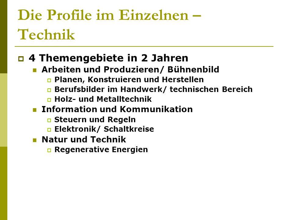 Die Profile im Einzelnen – Technik  4 Themengebiete in 2 Jahren Arbeiten und Produzieren/ Bühnenbild  Planen, Konstruieren und Herstellen  Berufsbi