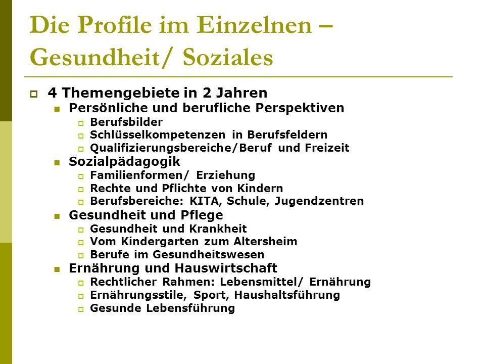 Die Profile im Einzelnen – Gesundheit/ Soziales  4 Themengebiete in 2 Jahren Persönliche und berufliche Perspektiven  Berufsbilder  Schlüsselkompet