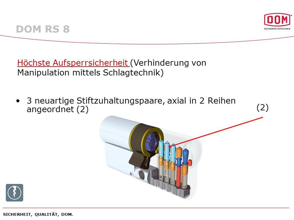 SICHERHEIT, QUALITÄT, DOM. 3 neuartige Stiftzuhaltungspaare, axial in 2 Reihen angeordnet (2) Höchste Aufsperrsicherheit (Verhinderung von Manipulatio