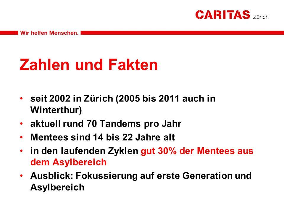 Zahlen und Fakten seit 2002 in Zürich (2005 bis 2011 auch in Winterthur) aktuell rund 70 Tandems pro Jahr Mentees sind 14 bis 22 Jahre alt in den lauf