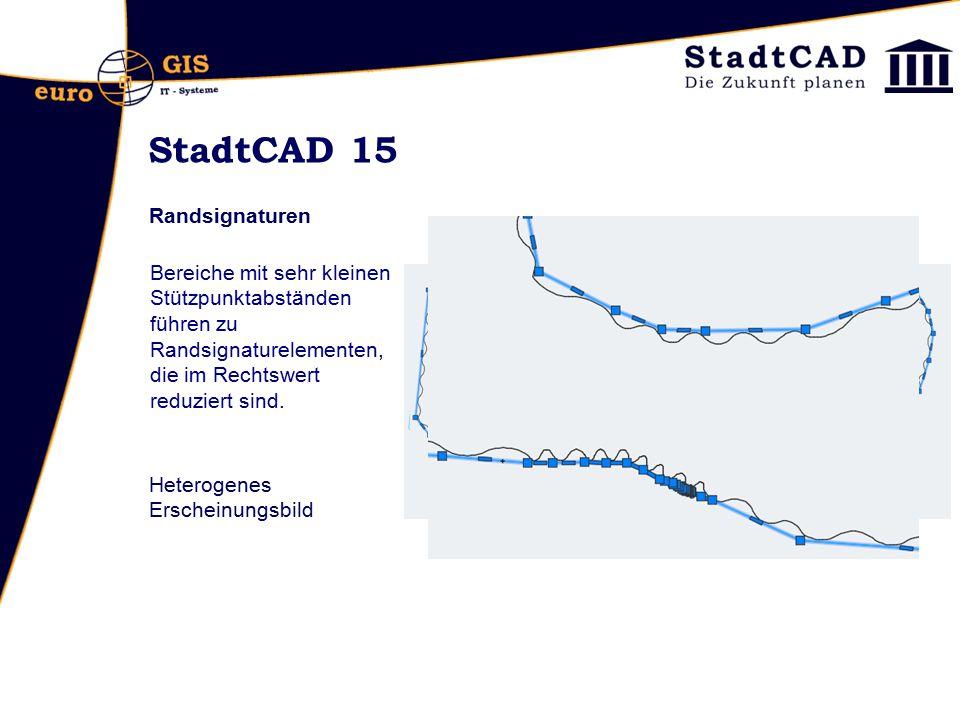 StadtCAD 15 Randsignaturen Bereiche mit sehr kleinen Stützpunktabständen führen zu Randsignaturelementen, die im Rechtswert reduziert sind. Heterogene