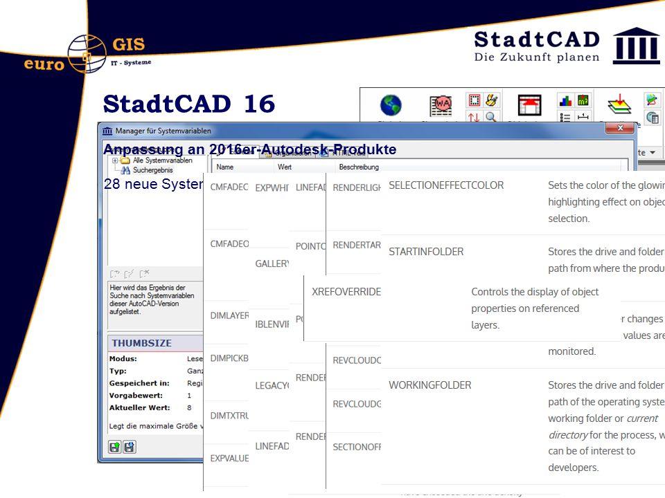 StadtCAD 16 Anpassung an 2016er-Autodesk-Produkte 28 neue Systemvariablen
