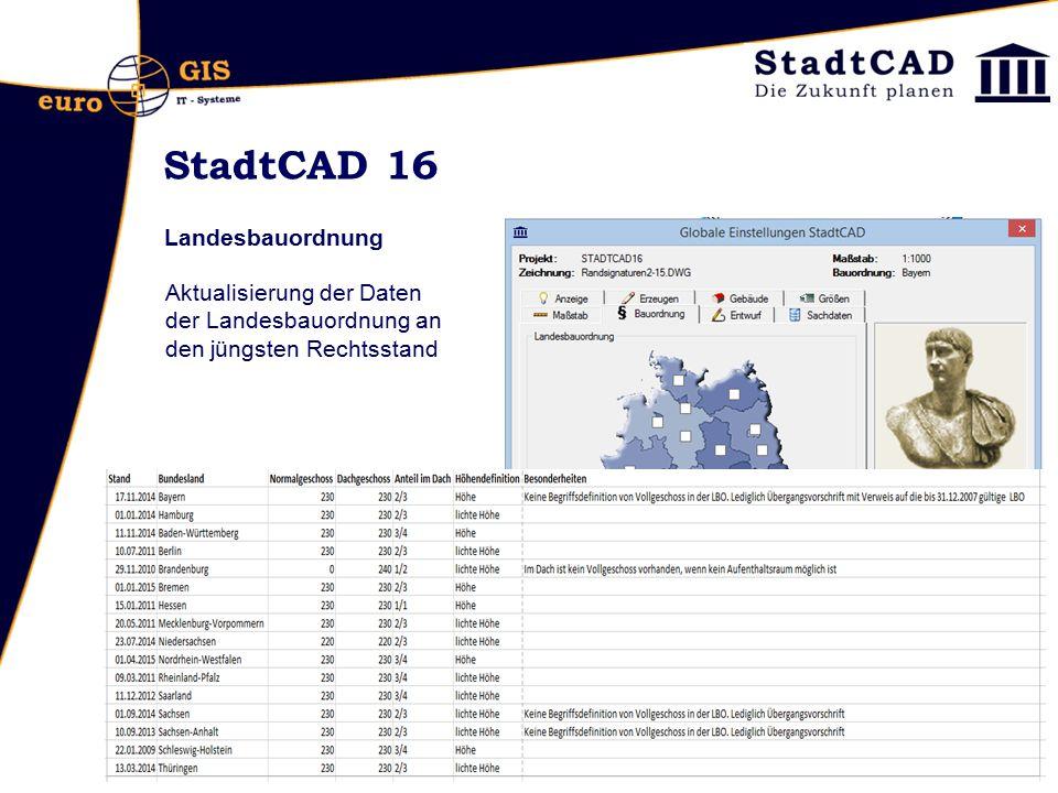 StadtCAD 16 Landesbauordnung Aktualisierung der Daten der Landesbauordnung an den jüngsten Rechtsstand