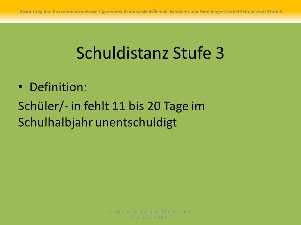 Schuldistanz Stufe 3 Definition: Schüler/- in fehlt 11 bis 20 Tage im Schulhalbjahr unentschuldigt G.