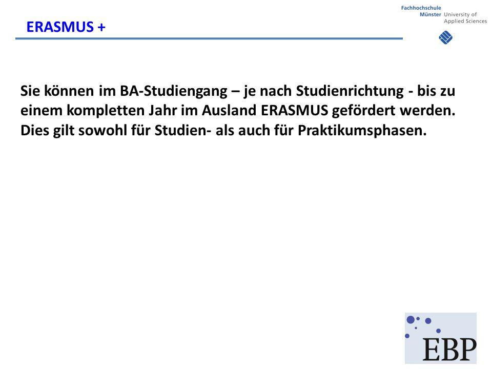 Sie können im BA-Studiengang – je nach Studienrichtung - bis zu einem kompletten Jahr im Ausland ERASMUS gefördert werden.