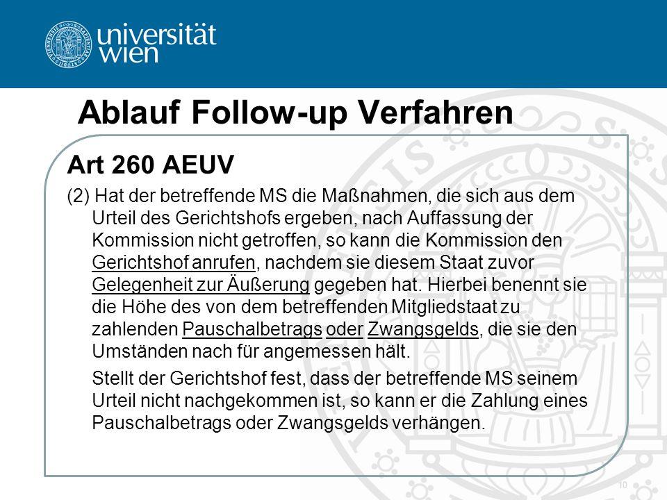 Ablauf Follow-up Verfahren Art 260 AEUV (2) Hat der betreffende MS die Maßnahmen, die sich aus dem Urteil des Gerichtshofs ergeben, nach Auffassung de