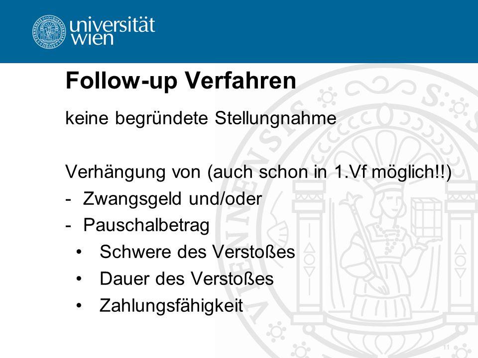 Follow-up Verfahren 11 keine begründete Stellungnahme Verhängung von (auch schon in 1.Vf möglich!!) -Zwangsgeld und/oder -Pauschalbetrag Schwere des V
