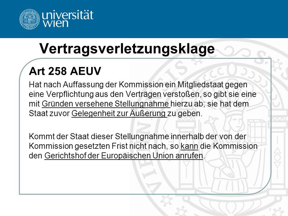 Vertragsverletzungsklage Art 259 AEUV Jeder Mitgliedstaat kann den EuGH anrufen, wenn er der Auffassung ist, dass ein anderer Mitgliedstaat gegen eine Verpflichtung aus den Verträgen verstoßen hat.