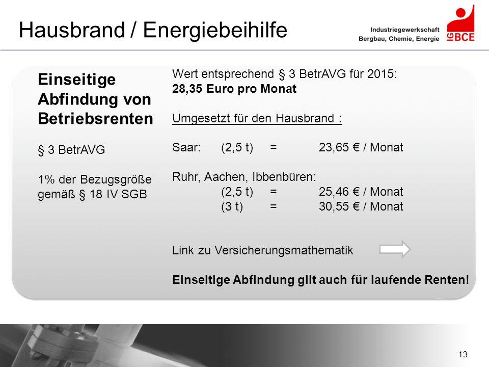 13 Hausbrand / Energiebeihilfe Einseitige Abfindung von Betriebsrenten § 3 BetrAVG 1% der Bezugsgröße gemäß § 18 IV SGB Wert entsprechend § 3 BetrAVG
