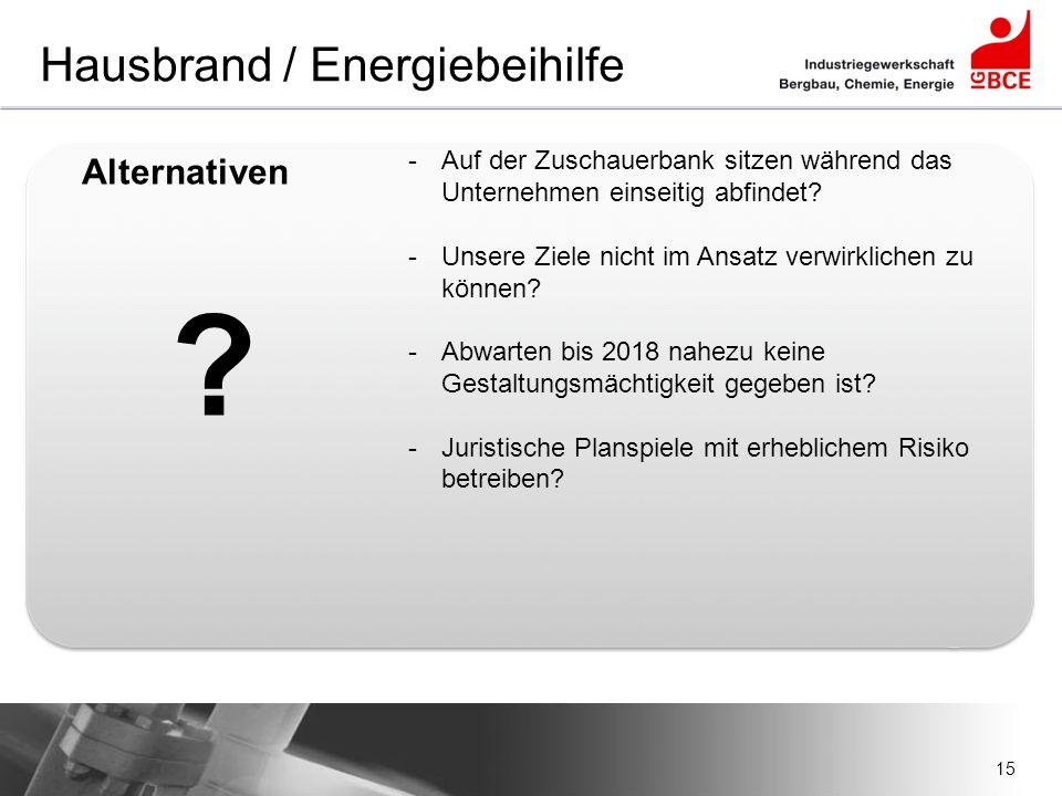 15 Hausbrand / Energiebeihilfe -Auf der Zuschauerbank sitzen während das Unternehmen einseitig abfindet? -Unsere Ziele nicht im Ansatz verwirklichen z