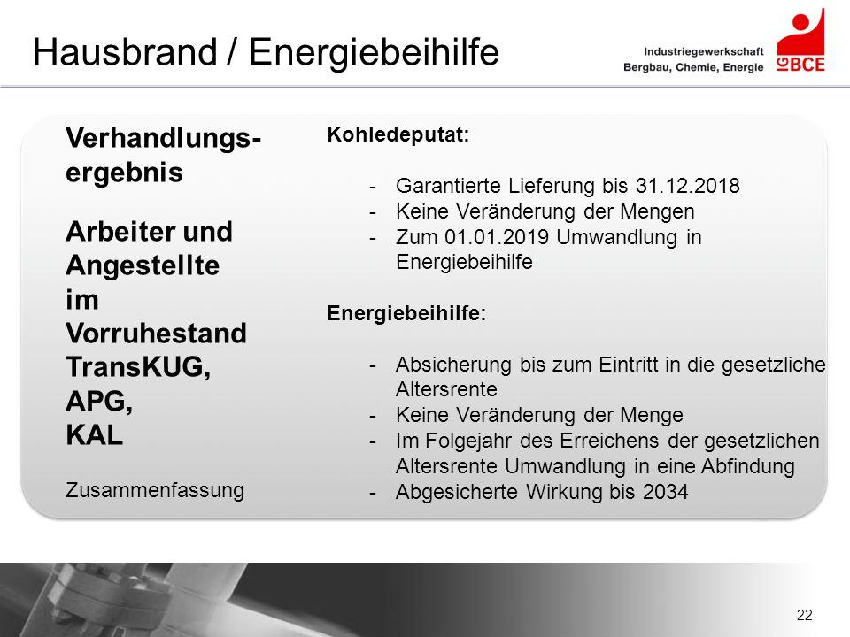 22 Hausbrand / Energiebeihilfe Verhandlungs- ergebnis Arbeiter und Angestellte im Vorruhestand TransKUG, APG, KAL Zusammenfassung Kohledeputat: -Garan