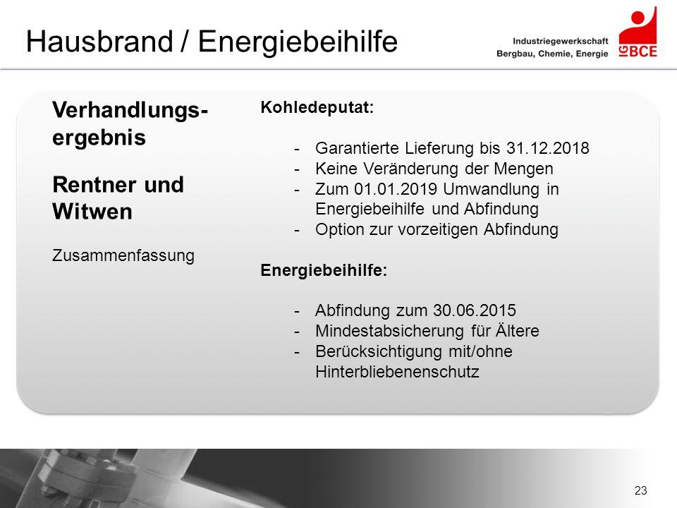 23 Hausbrand / Energiebeihilfe Verhandlungs- ergebnis Rentner und Witwen Zusammenfassung Kohledeputat: -Garantierte Lieferung bis 31.12.2018 -Keine Ve
