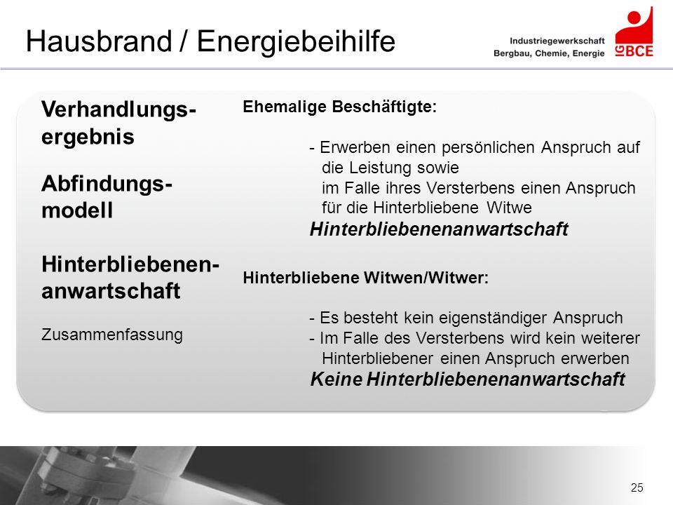 25 Hausbrand / Energiebeihilfe Verhandlungs- ergebnis Abfindungs- modell Hinterbliebenen- anwartschaft Zusammenfassung Ehemalige Beschäftigte: - Erwer
