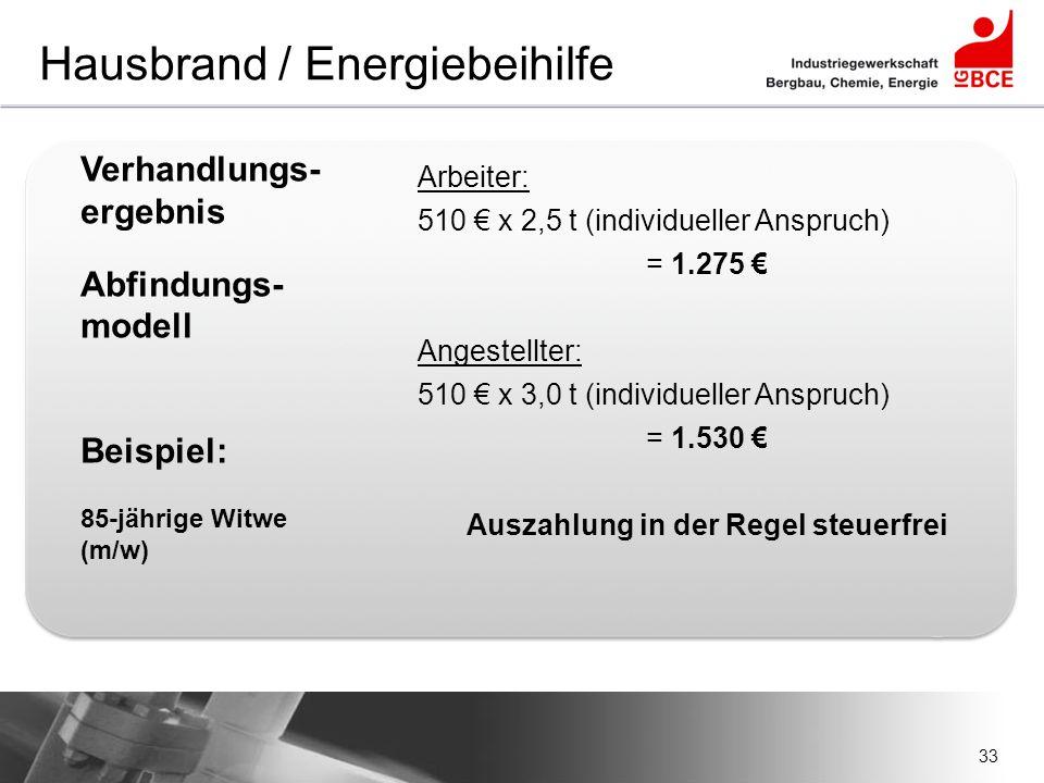 33 Hausbrand / Energiebeihilfe Verhandlungs- ergebnis Abfindungs- modell Beispiel: 85-jährige Witwe (m/w) Arbeiter: 510 € x 2,5 t (individueller Anspr